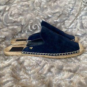 Tory Burch Max Espadrilles Blue Suede Slides Shoes